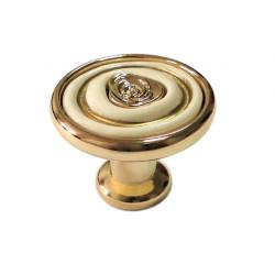 Ручка-кнопка, керамика полированное золото   РОЗА           Boyard   (RC108GP.4/W)