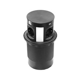 Выдвижной удлинитель с беспроводной зарядкой 230 B 2*USB черный   SETE (SPO-WC-B)