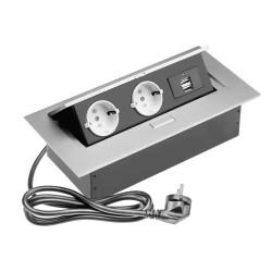 Удлинитель прямоуг. врезной на 2 розетки + 2 USB серебро SCHUKO                 SETE  (SBT-R2UC-80)