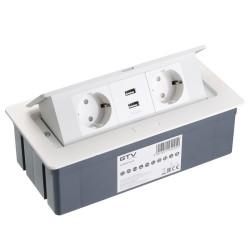 Удлинитель прямоуг. врезной на 2 розетки + 2 USB белый SCHUKO                 GTV  (AE-PBSUC2GS-10)
