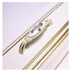 Ручка керамика 96 мм матовое золото  рисунком       SETE  (RM-NICOLETTA096 - 33)