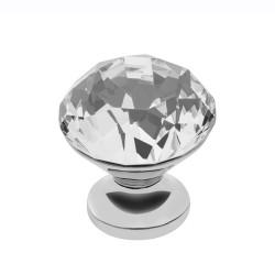 Ручка одинарная круглая кристал+хром 30мм Cristal Palace B/GZ-CRP25-01