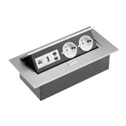 Удлинитель офисный на два гнезда + вход USB,аудио/интернет выход  GTV (AE-PB02GS-53)