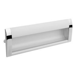 Ручка врезная алюминиевая 128мм заглушки хром