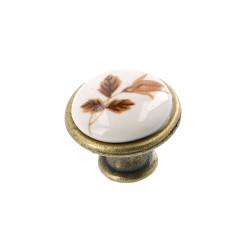 Ручка-кнопка, керамика Коричневый цветок              МФ (6124) / GTV (GP-0728-J4-B)